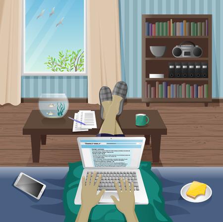 freelancer: Man Freelancer work at home on laptop