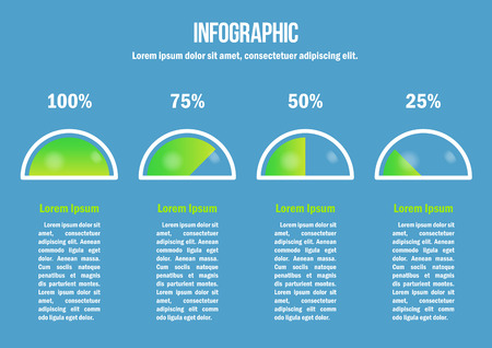 Infographic with green percent diagrams Illustration