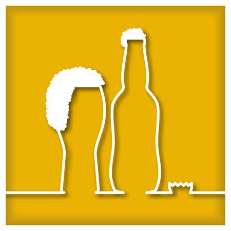 Glas bier en fles Icoon