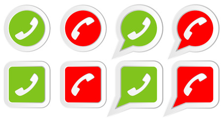 friend  nobody: Set of Icons with phone handset in rounds, squares and speech bubbles Illustration