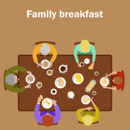 mom and daughter: family breakfast Illustration