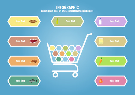 foodstuff: Infographic with supermarket trolley and foodstuff