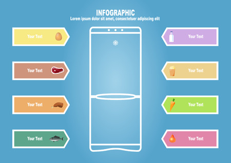 foodstuff: Infographic with refrigerator and foodstuff Illustration
