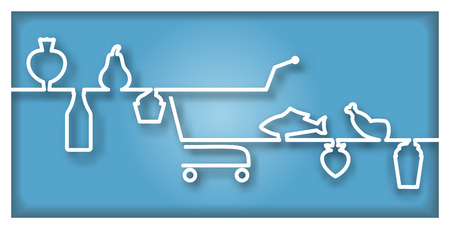 foodstuff: Icon with supermarket trolley and foodstuff