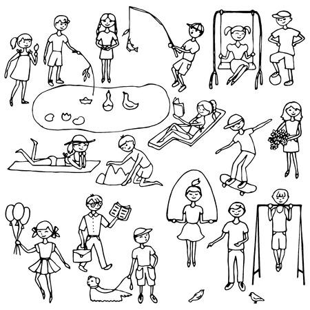 niños con pancarta: Conjunto dibujado a mano Niños