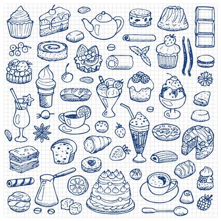 ice tea: Cafe Set hand drawn doodle elements