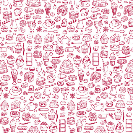 weldless: Cafe. Seamless hand drawn doodle pattern
