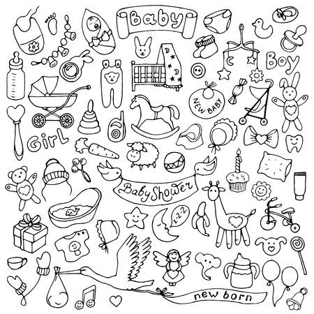 newborn: Baby hand drawn doodle set