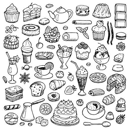 postres: Cafe Set dibujados a mano elementos del doodle