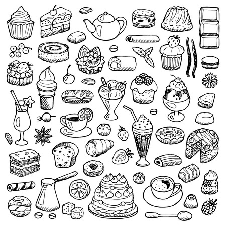 baking cake: Cafe Set hand drawn doodle elements