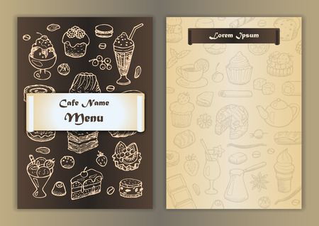 Cafe menu with hand drawn doodle elements