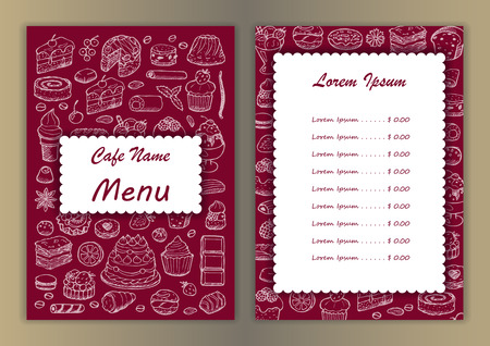 fancy pastry: Cafe menu with hand drawn doodle elements