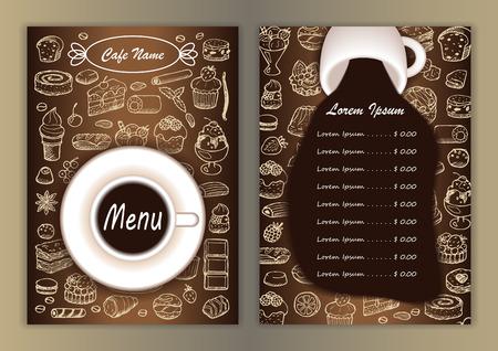 Menú Cafe con Elementos de bosquejo dibujado a mano Vectores