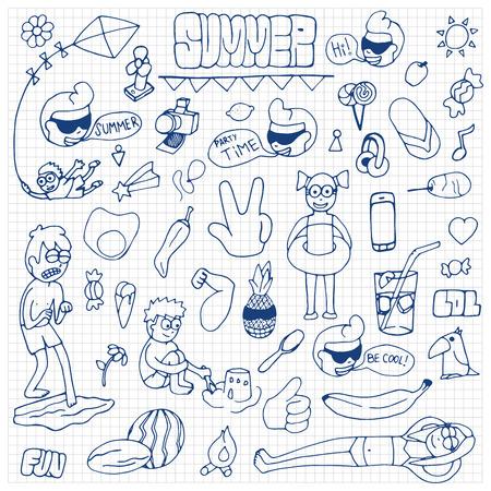 summer sport: Summer hand drawn doodle set
