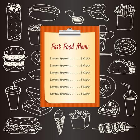 Fast Food menu met de hand getrokken doodle elementen