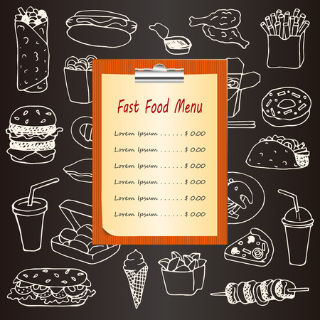 food illustrations: Fast Food menu with hand drawn doodle elements