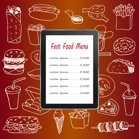 fast computer: Fast Food menu with hand drawn doodle elements and tablet computer Illustration
