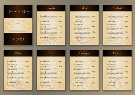 chalkboard menu: Restaurant menu with hand drawn doodle elements