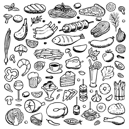 Set hand drawn doodle food and drink elements