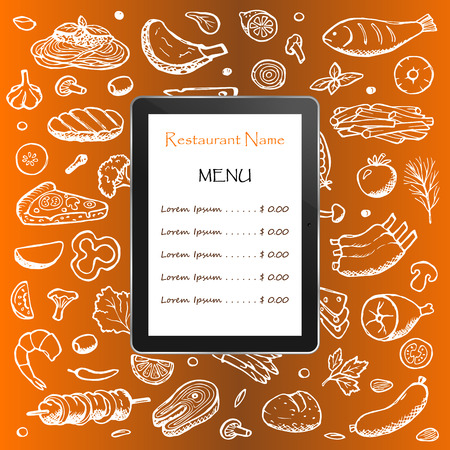 Restaurant menu with hand drawn doodle elements and table Illustration