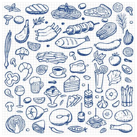alimentos y bebidas: Conjunto de dibujado a mano alimentos garabato y beber elementos
