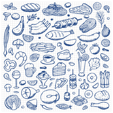 food and beverages: Set hand drawn doodle food and drink elements