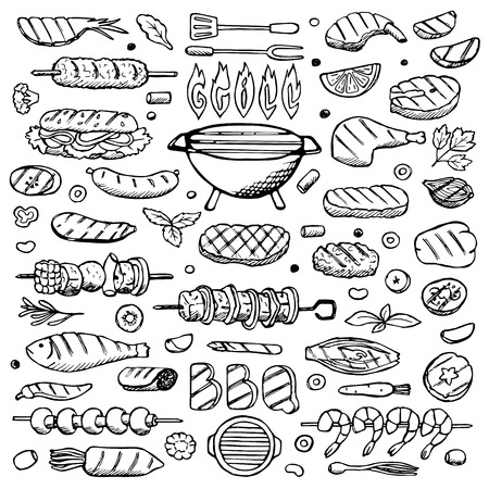 grill: Grill-barbecue Set hand drawn doodle elements