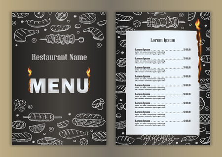 Restaurant menu with grill- barbecue hand drawn doodle elements
