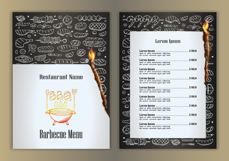 meat food: Restaurant menu with barbecue hand drawn doodle elements Illustration