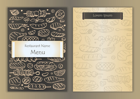roaster: Restaurant menu with grill hand drawn doodle elements Illustration
