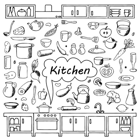 Set hand drawn kitchen doodles
