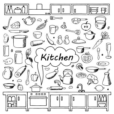 Stel handgetekende keuken doodles Stock Illustratie