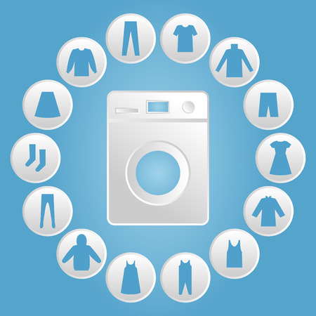 drycleaning: Washing machine with clothes Icon