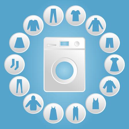 washhouse: Washing machine with clothes Icon