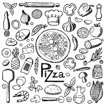 Pizza. Fije los elementos dibujados a mano Foto de archivo - 43471616