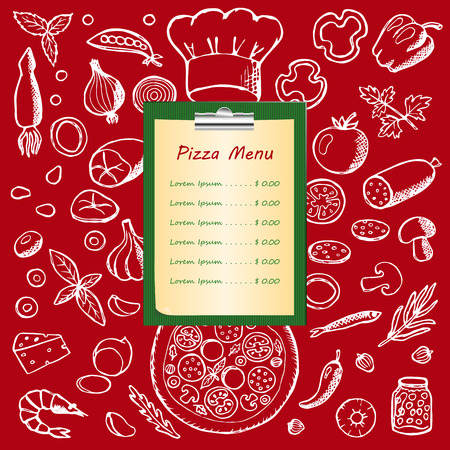 Pizza menu with hand drawn doodle elements