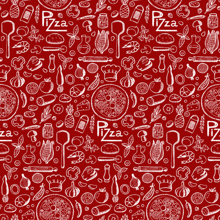 fast food restaurant: Pizza. Seamless hand drawn doodle pattern Illustration