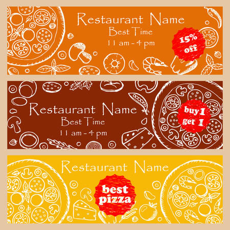 table decoration: Set discount fliers for pizzeria and restaurants Illustration