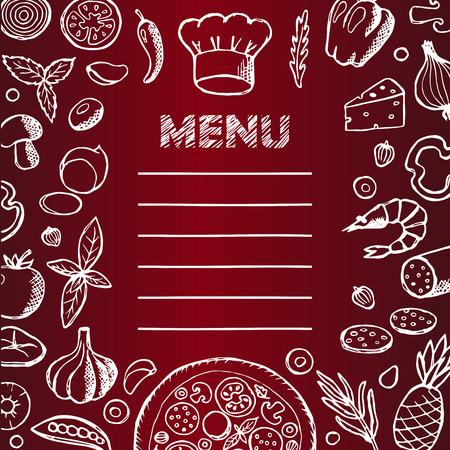 comida italiana: Men� con dibujados a mano elementos del doodle y pizarra