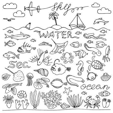 skin diving: Underwater world hand drawn doodle set Illustration