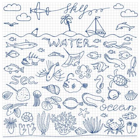 pink dolphin: Underwater world hand drawn doodle set Illustration