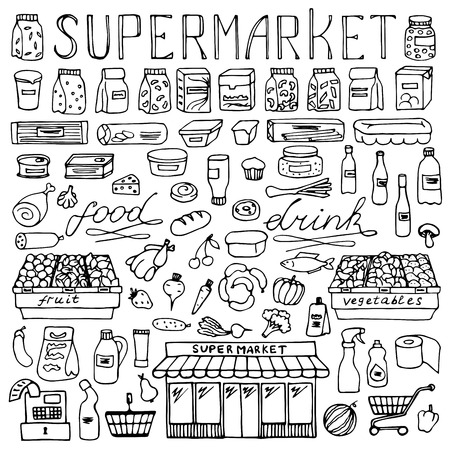 sketch sketches: Supermarket hand drawn doodle set