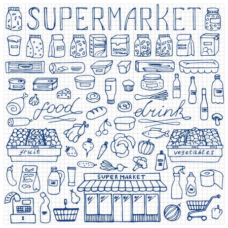 doodle: Supermarket hand drawn doodle set