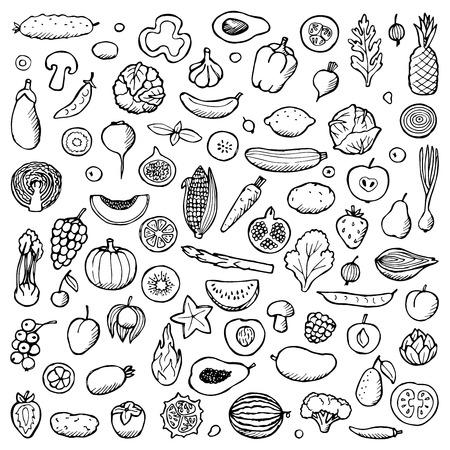 Vegetables and fruits Set hand drawn doodle elements Illustration