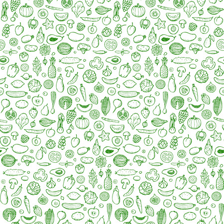 Vegetables and fruits Seamless hand drawn doodle pattern Illustration