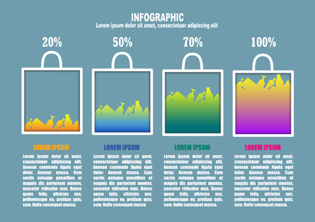purchasing: Infographic with bag and percent Illustration