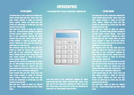 calculate: Infographic with calculate and two text places