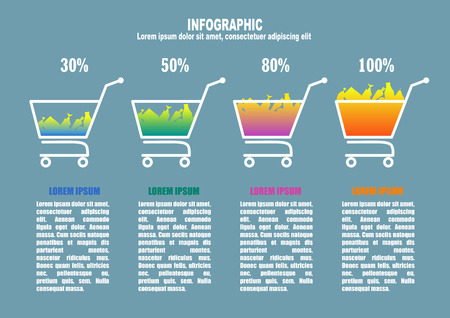 foodstuff: Infographic with supermarket trolleys, percent and foodstuff Illustration