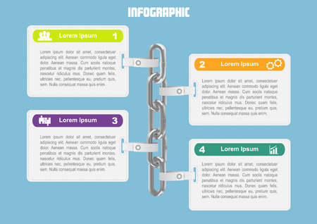 supply chain: Business infographic with chain and 4 options