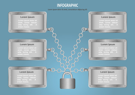 iron defense: Infographic with lock, chain and 6 options Illustration